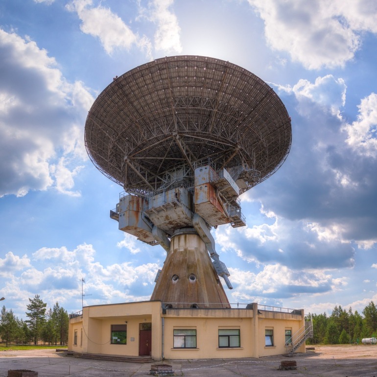 abandoned, blue, clouds, HDR, Irbene, Latvia, panorama, radiotelescope, rusty, sky, sun