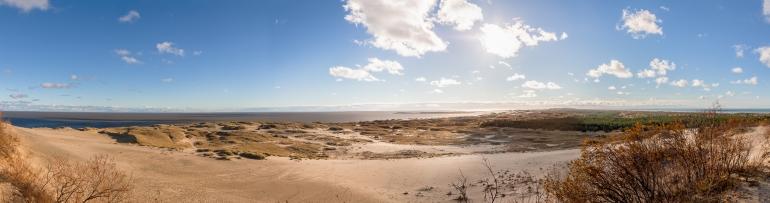 Lithuania, Lietuva, Neringa, Nida, 2012, kopos, dune, Parnidžio kopa, Parnidis dune, marios, lagoon, jūra, sea, Kuršių marios, Curonian Lagoon, Baltijos jūra, Baltic sea, diena, day, saulė, sun, debesys, clouds, miškas, forest, marios ir jūra, lagoon and sea, HDR, panorama, dangys, sky