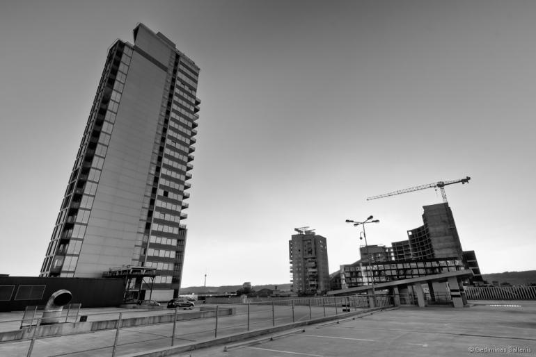 Vilnius, Lithuania, Lietuva, verslo centras europa, bw, hdr, 2010