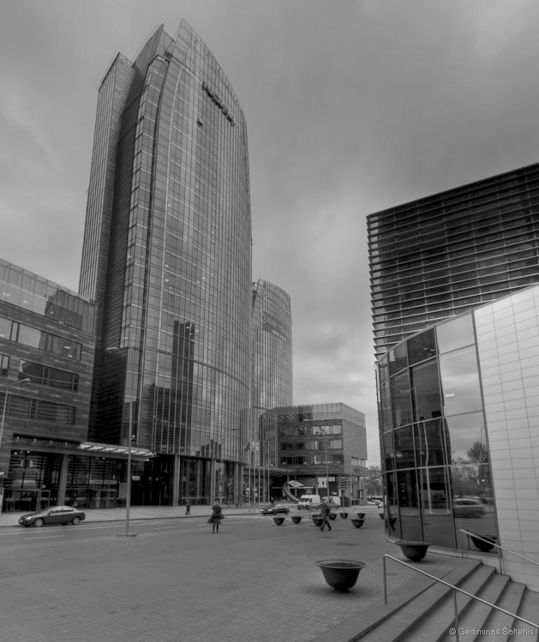 Vilnius, Lithuania, Lietuva, verslo centras europa, bw, hdr, 2009