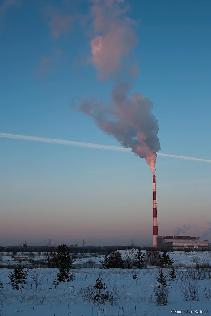 Vilnius, Lithuania, Lietuva, žiema, dūmai, kaminas, 2010